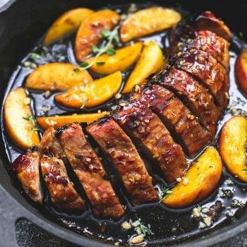 One Pan Brown Sugar Pork & Apples | lecremedelacrumb.com