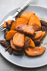 Baked Southern Candied Sweet Potatoes | lecremedelacrumb.com