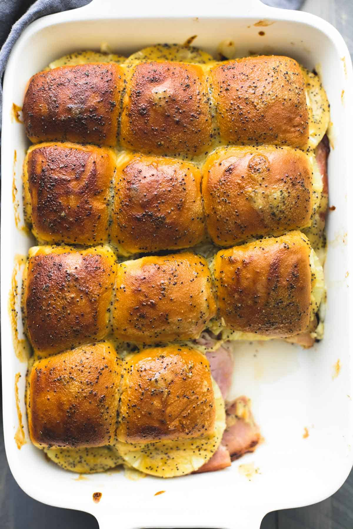 Hot Hawaiian Ham & Swiss Cheese Sliders | lecremedelacrumb.com