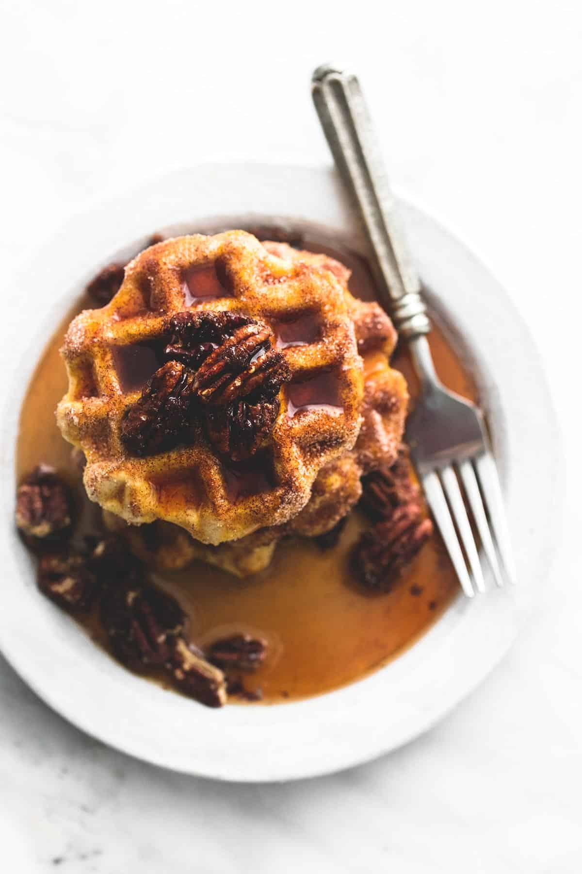 Cinnamon Sugar Biscuit Waffles (4 ingredients) | lecremedelacrumb.com