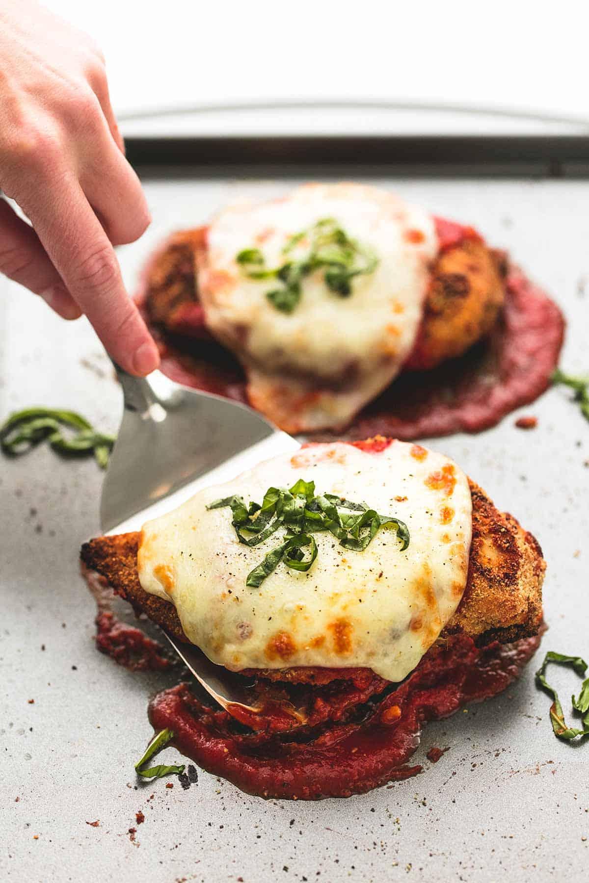 Healthy Baked Chicken Parmesan | lecremedelacrumb.com