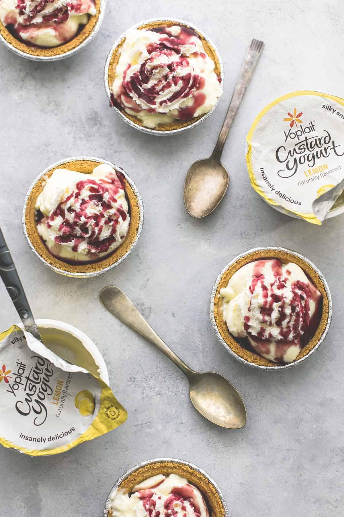 Lemon Custard Yogurt Mini Pies | lecremedelacrumb.com