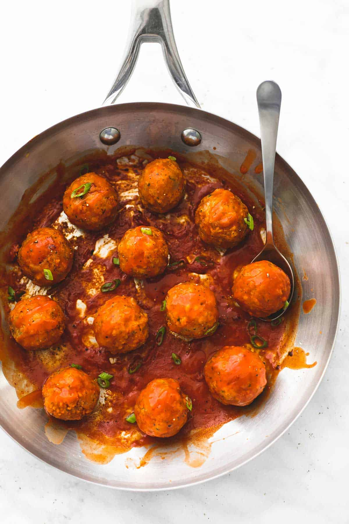 Blue Cheese Stuffed Buffalo Chicken Meatballs | lecremedelacrumb.com