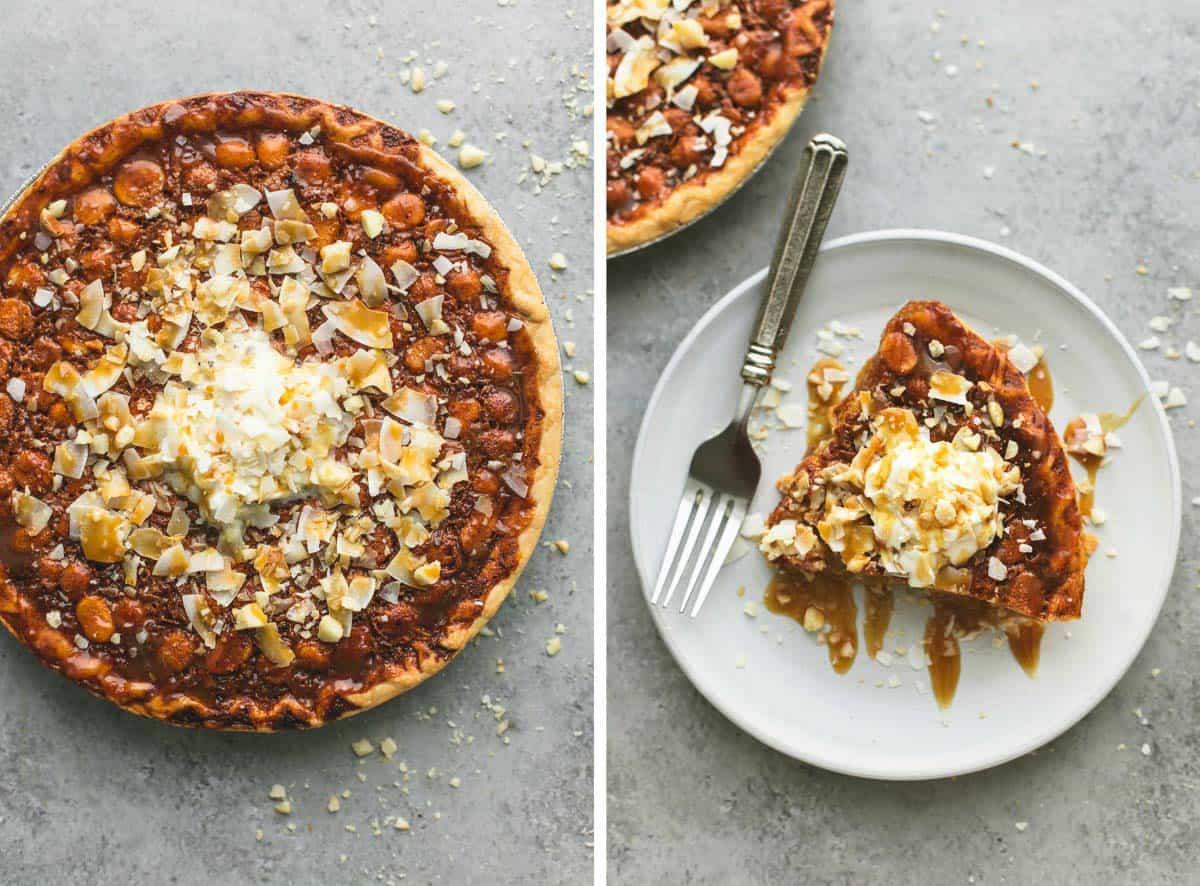 Caramel Coconut Macadamia Nut Pie | lecremedelacrumb.com