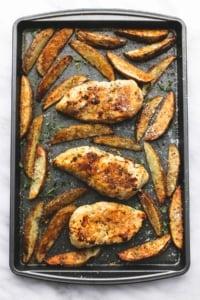 Sheet Pan Garlic Parmesan Chicken & Potatoes   lecremedelacrumb.com