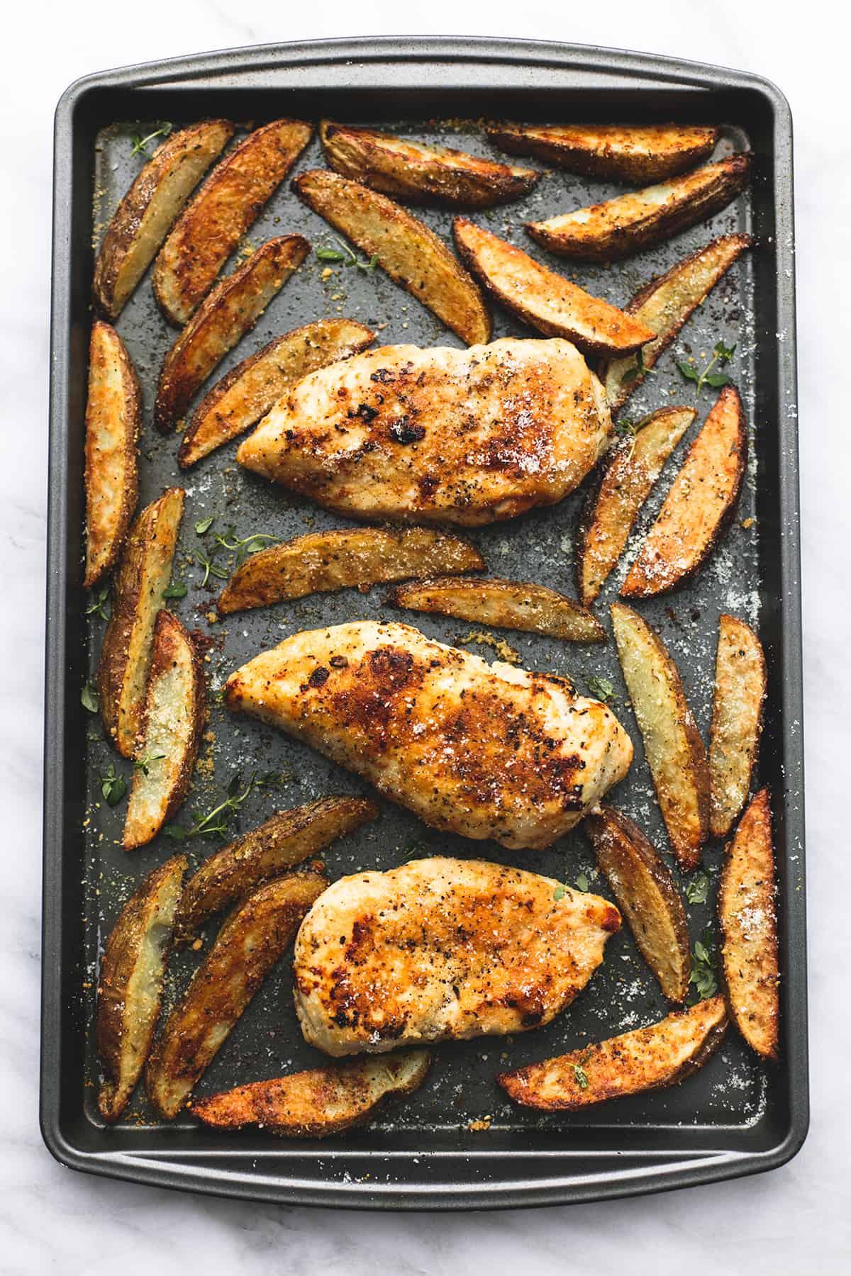 Sheet Pan Garlic Parmesan Chicken & Potatoes | lecremedelacrumb.com
