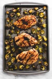 Sheet Pan Honey Balsamic Chicken & Brussels Sprouts   lecremedelacrumb.com