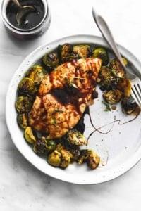 Sheet Pan Honey Balsamic Chicken & Brussels Sprouts | lecremedelacrumb.com