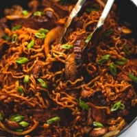 One Pan Spicy Korean Beef Noodles | lecremedelacrumb.com