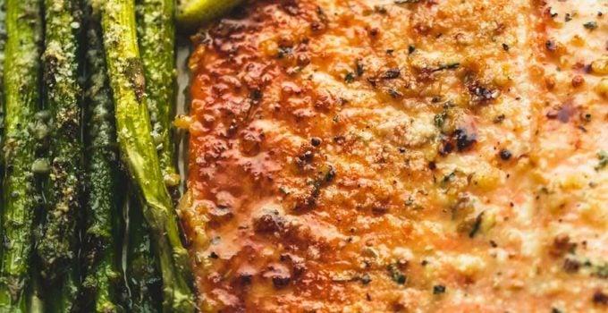 Baked Lemon Parmesan Salmon & Asparagus in Foil
