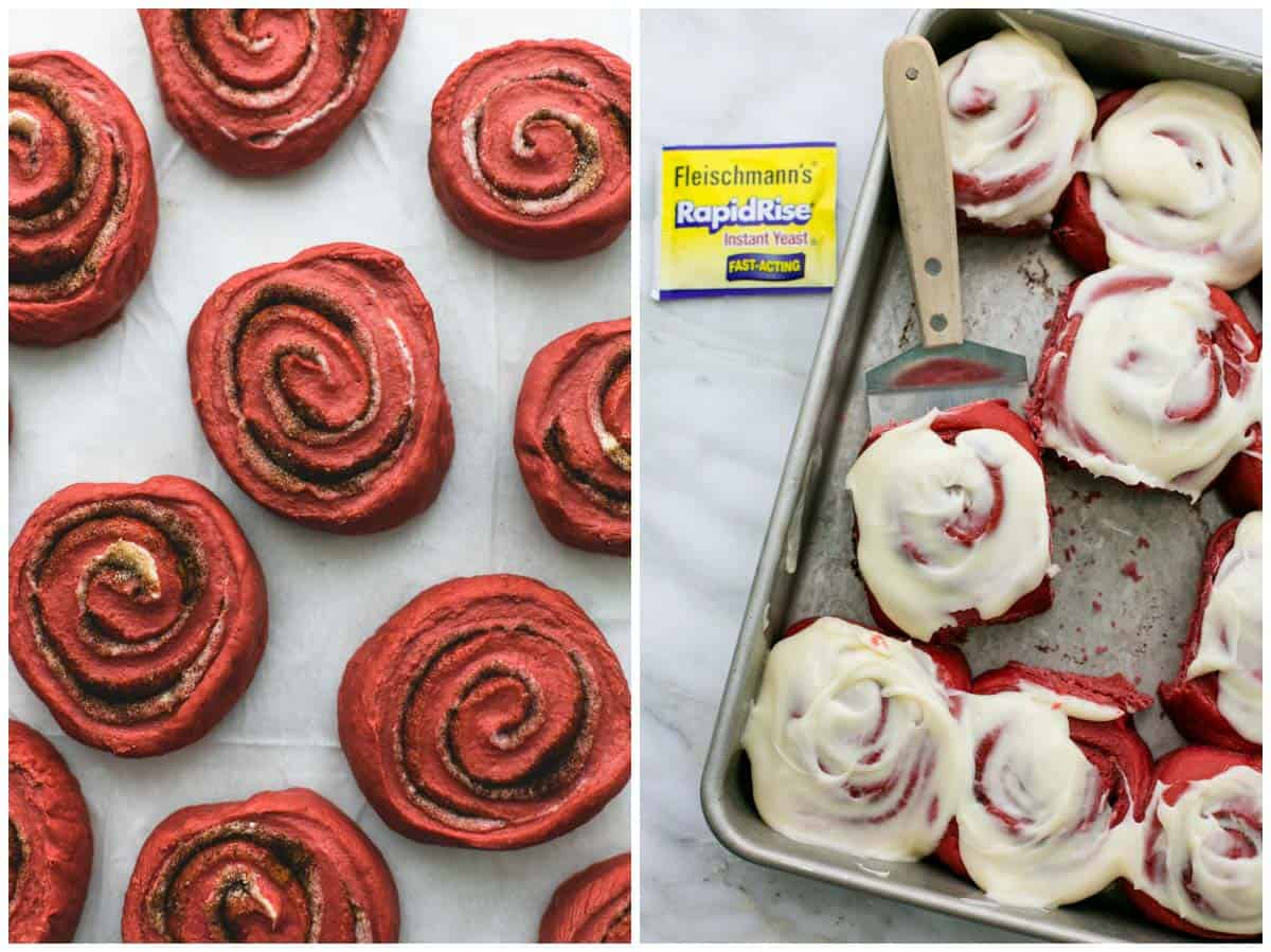 side by side images of red velvet cinnamon rolls on wax paper without frosting and on a baking sheet with one on a spatula frosted.