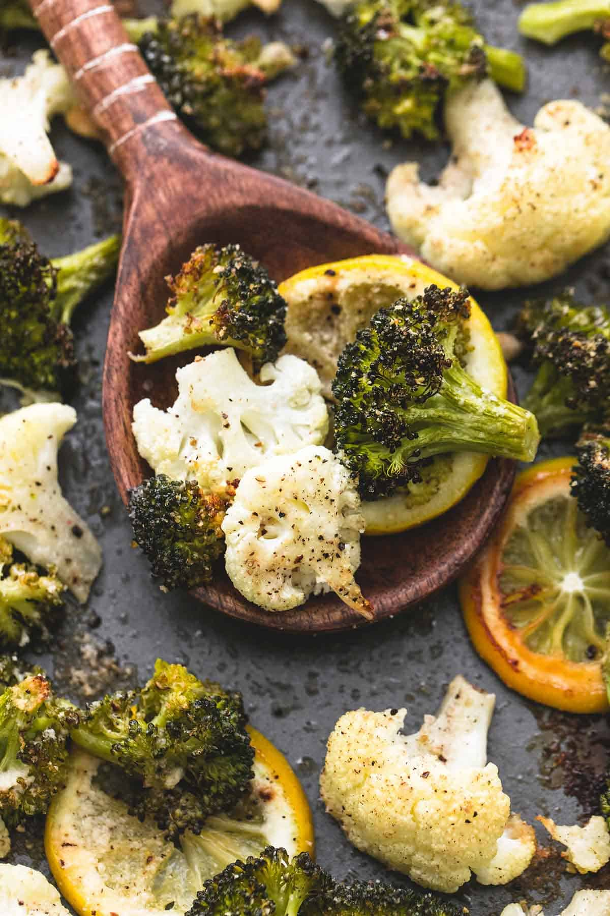 Roasted Lemon Garlic Broccoli & Cauliflower | lecremedelacrumb.com