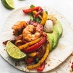 Sheet Pan Chili Lime Shrimp Fajitas | lecremedelacrumb.com
