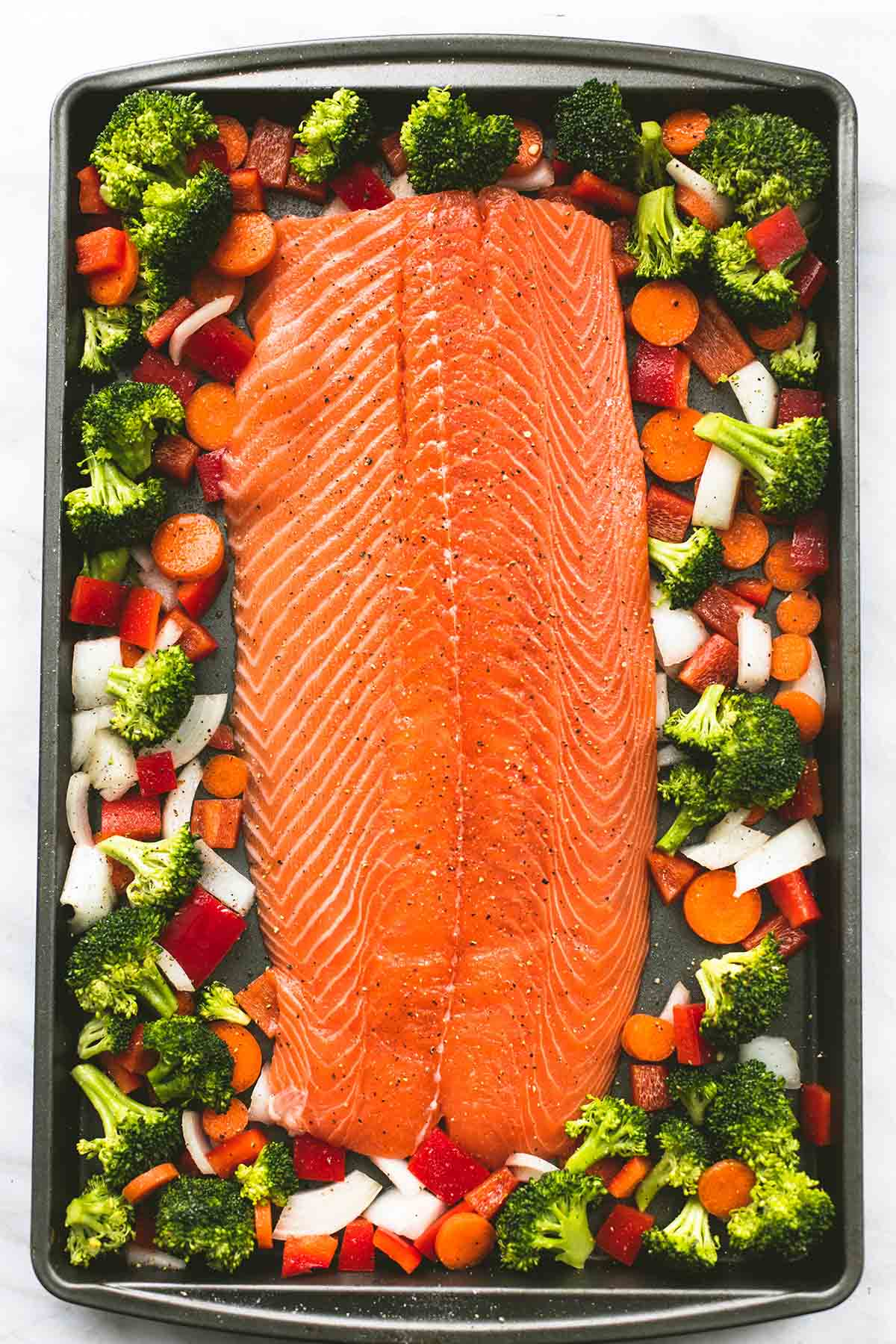 One Pan Baked Teriyaki Salmon and Vegetables   lecremedelacrumb.com