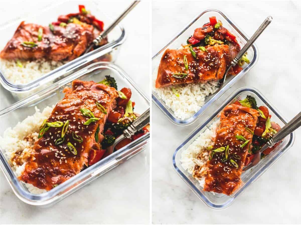 One Pan Baked Teriyaki Salmon and Vegetables | lecremedelacrumb.com