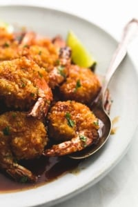Baked Crispy Honey Lime Shrimp | lecremedelacrumb.com