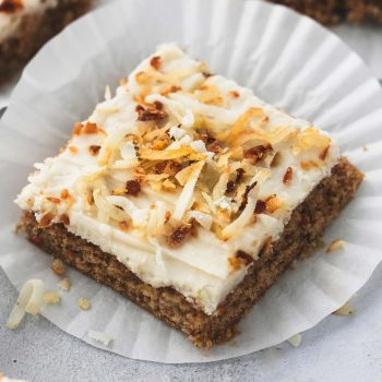 Carrot Cake Bars with Coconut Cream Cheese Frosting | lecremedelacrumb.com