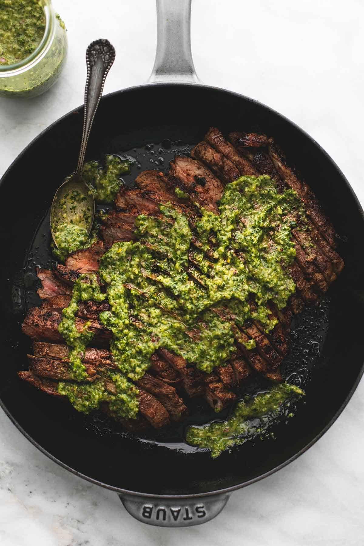 Flank Steak with Chimichurri Sauce | lecremedelacrumb.com