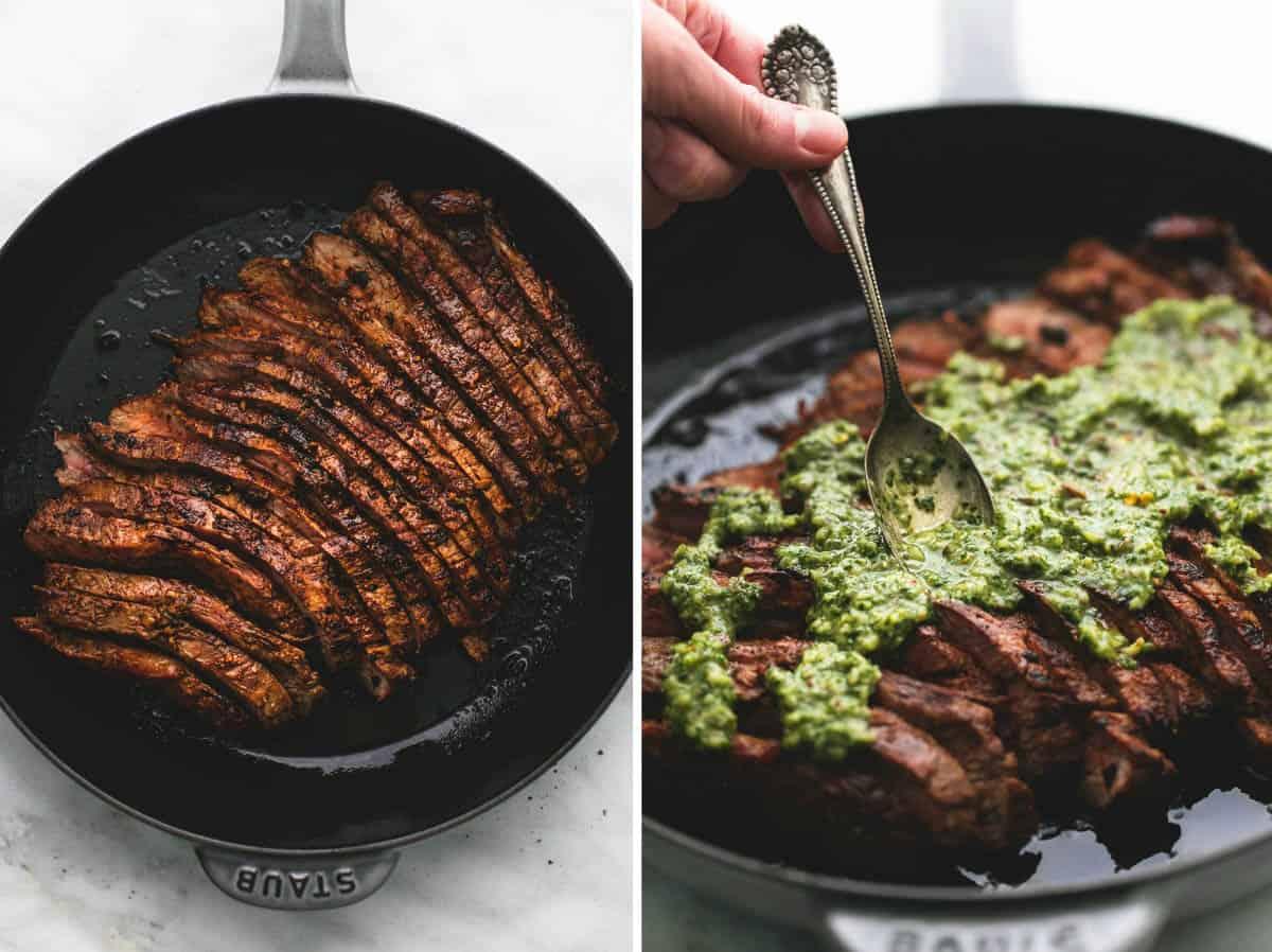Flank Steak with Chimichurri Sauce | Creme De La Crumb