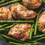 One Pan Garlic Herb Chicken & Asparagus | lecremedelacrumb.com