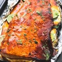 Baked Honey Sriracha Lime Salmon | lecremedelacrumb.com
