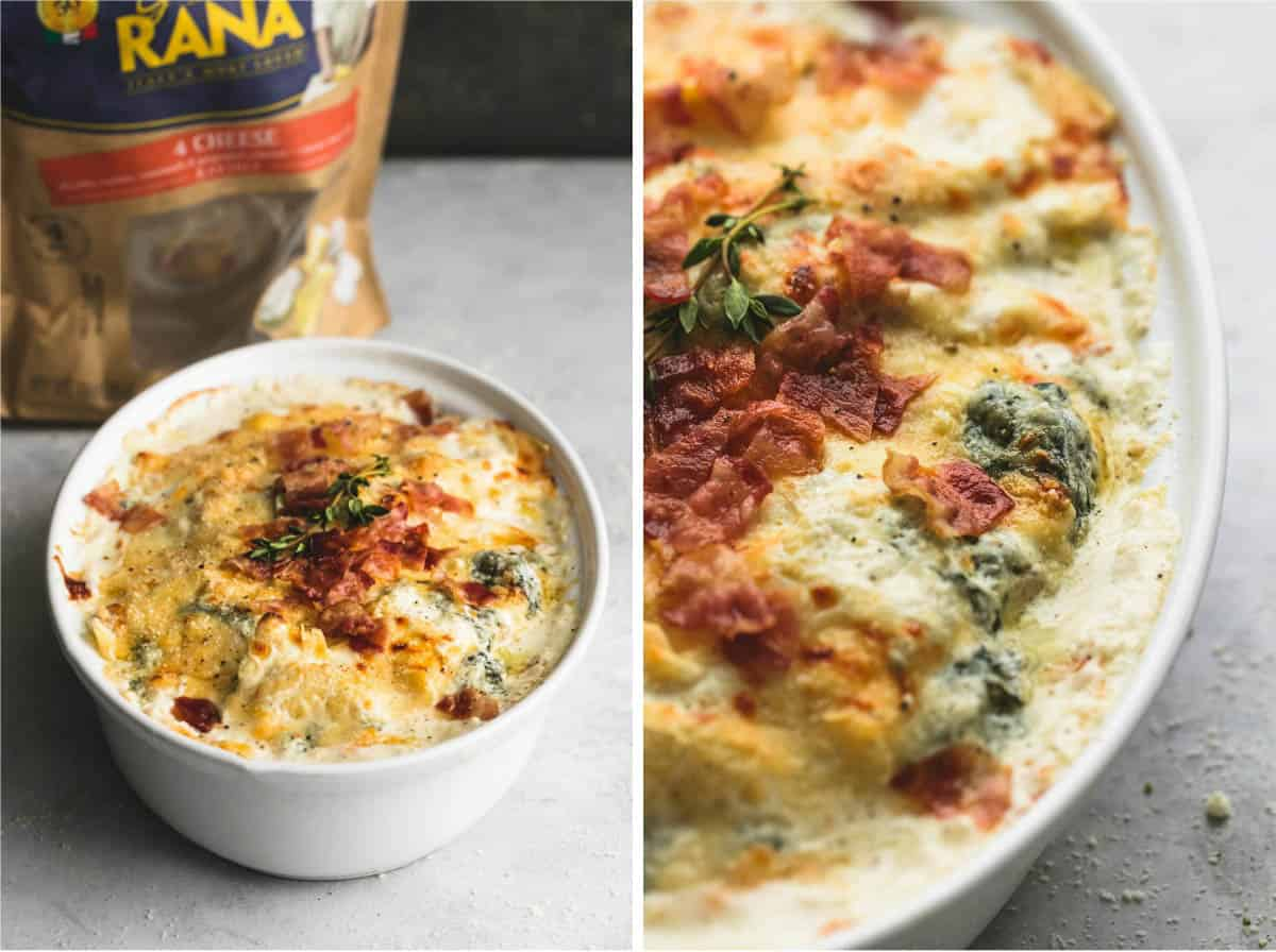 Ravioli Alfredo Bake with Spinach and Bacon | lecremedelacrumb.com