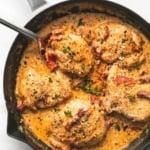 Skillet Chicken in Creamy Sun Dried Tomato Sauce | lecremedelacrumb.com