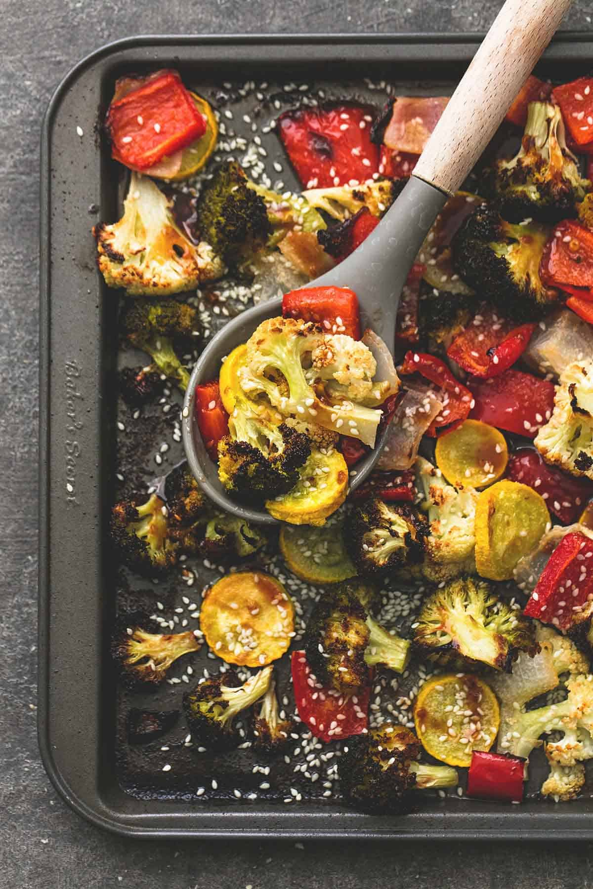 Sheet Pan Roasted Asian Vegetable Medley | lecremedelacrumb.com