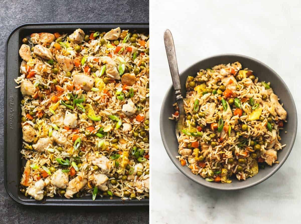 One sheet pan chicken fried rice creme de la crumb sheet pan chicken fried rice lecremedelacrumb ccuart Choice Image