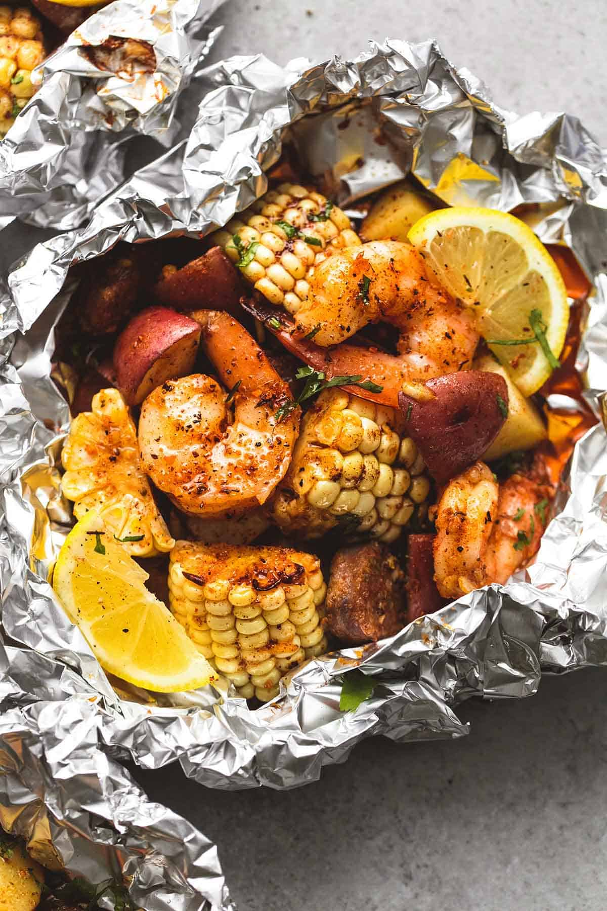 Shrimp Boil Foil Packs  Lecremedelacrumb