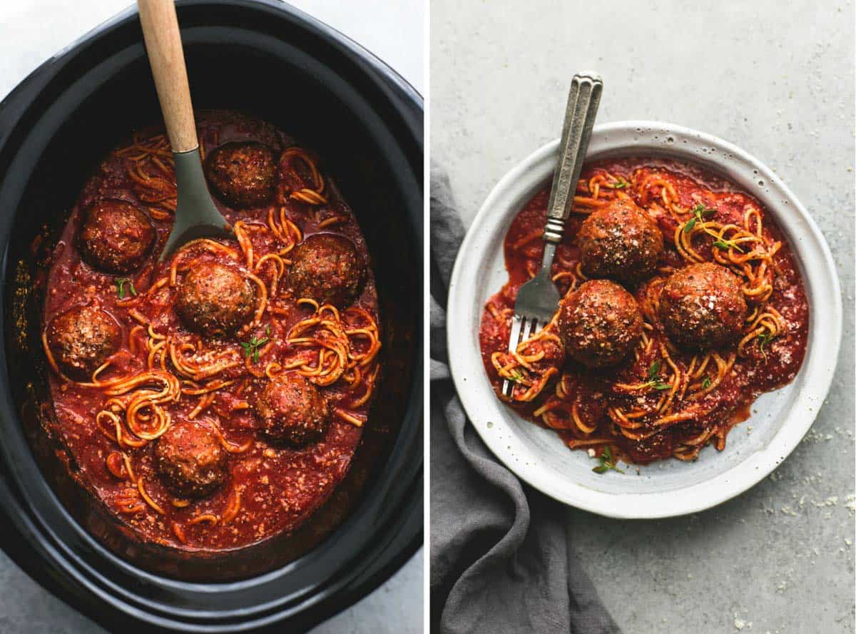side by side images of slow cooker spaghetti and meatballs in a slow cooker and on a plate.