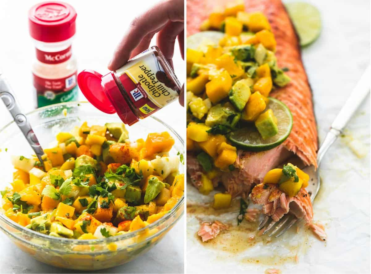 side by side images of grilled honey lime salmon with mango avocado salsa and spices being poured into a glass bowl of salsa.