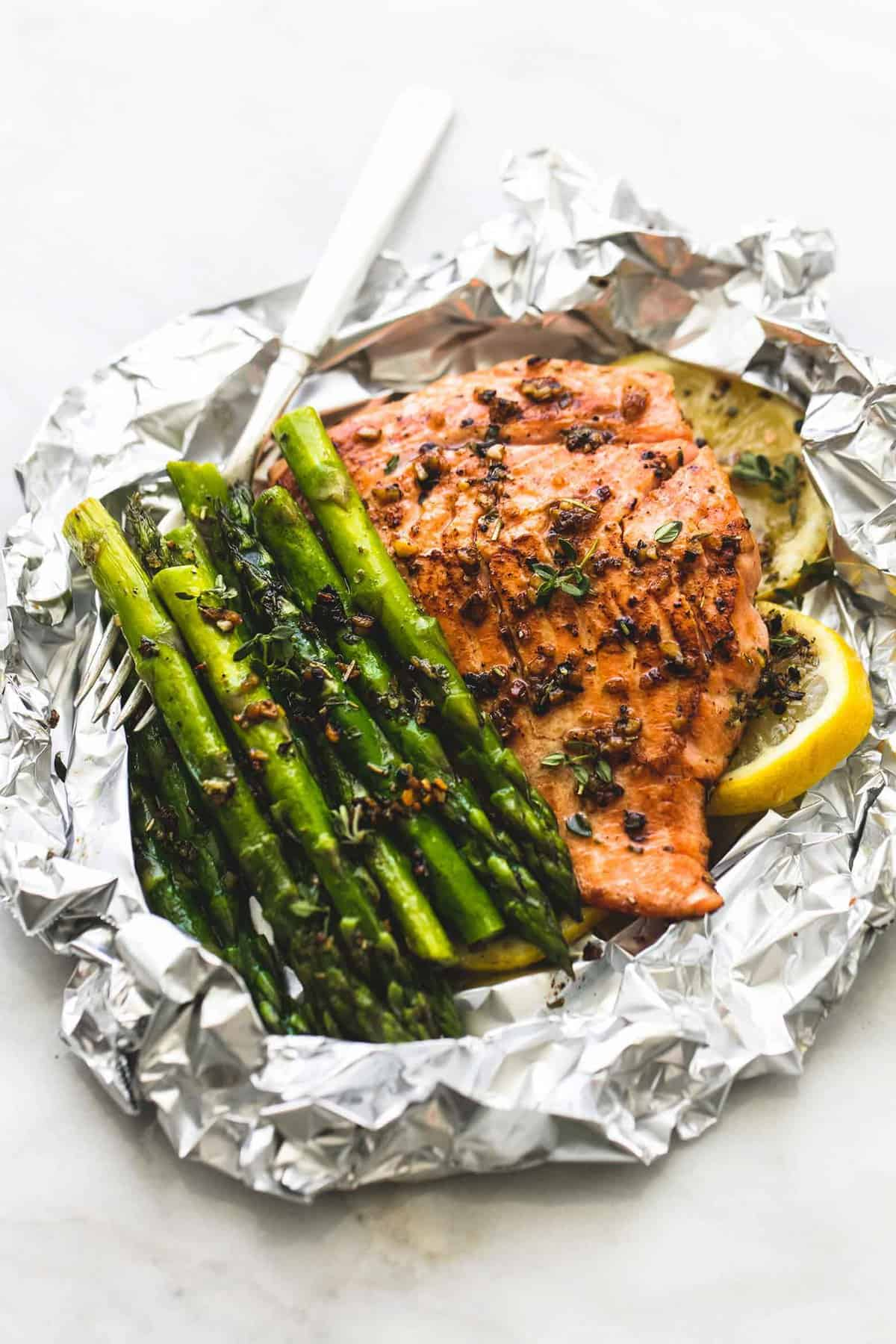 Herb Butter Salmon And Asparagus Foil Packs  Lecremedelacrumb