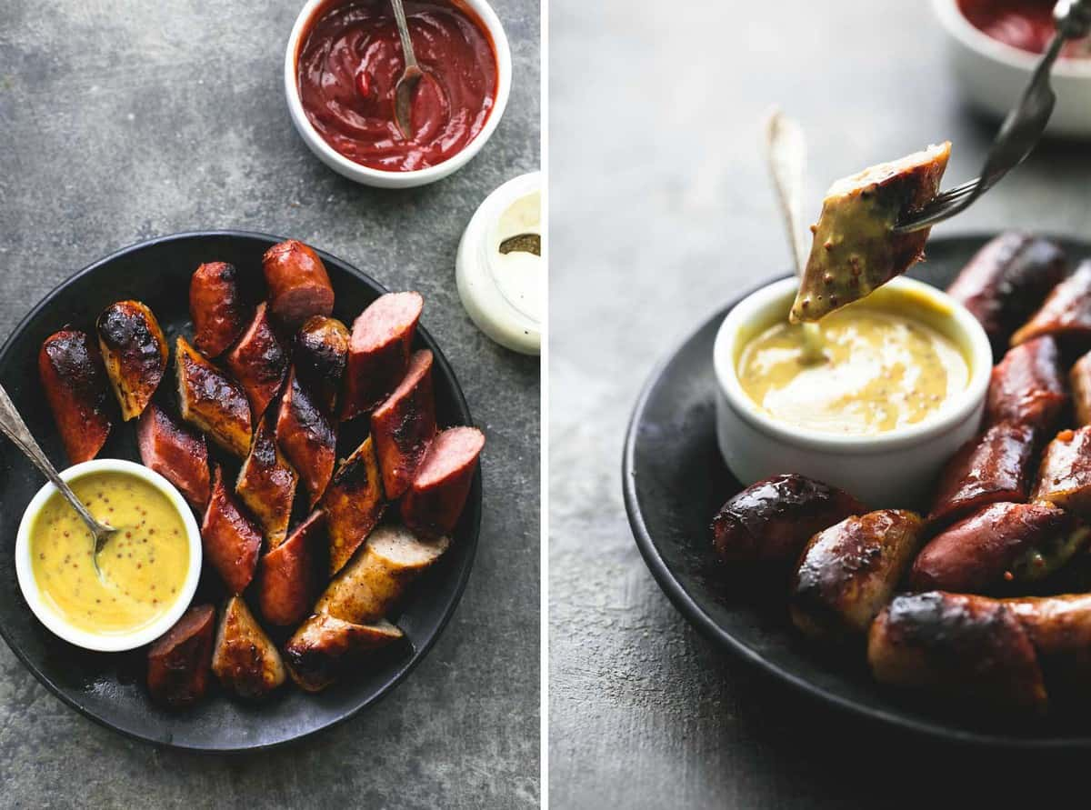 3 Ingredient Grilled Sausage Dipping Sauces | lecremedelacrumb.com