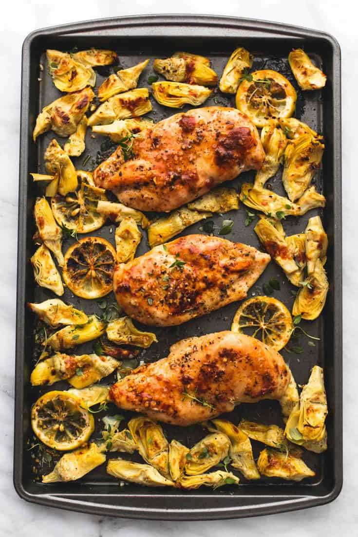 One Pan Baked Lemon Chicken and Artichokes