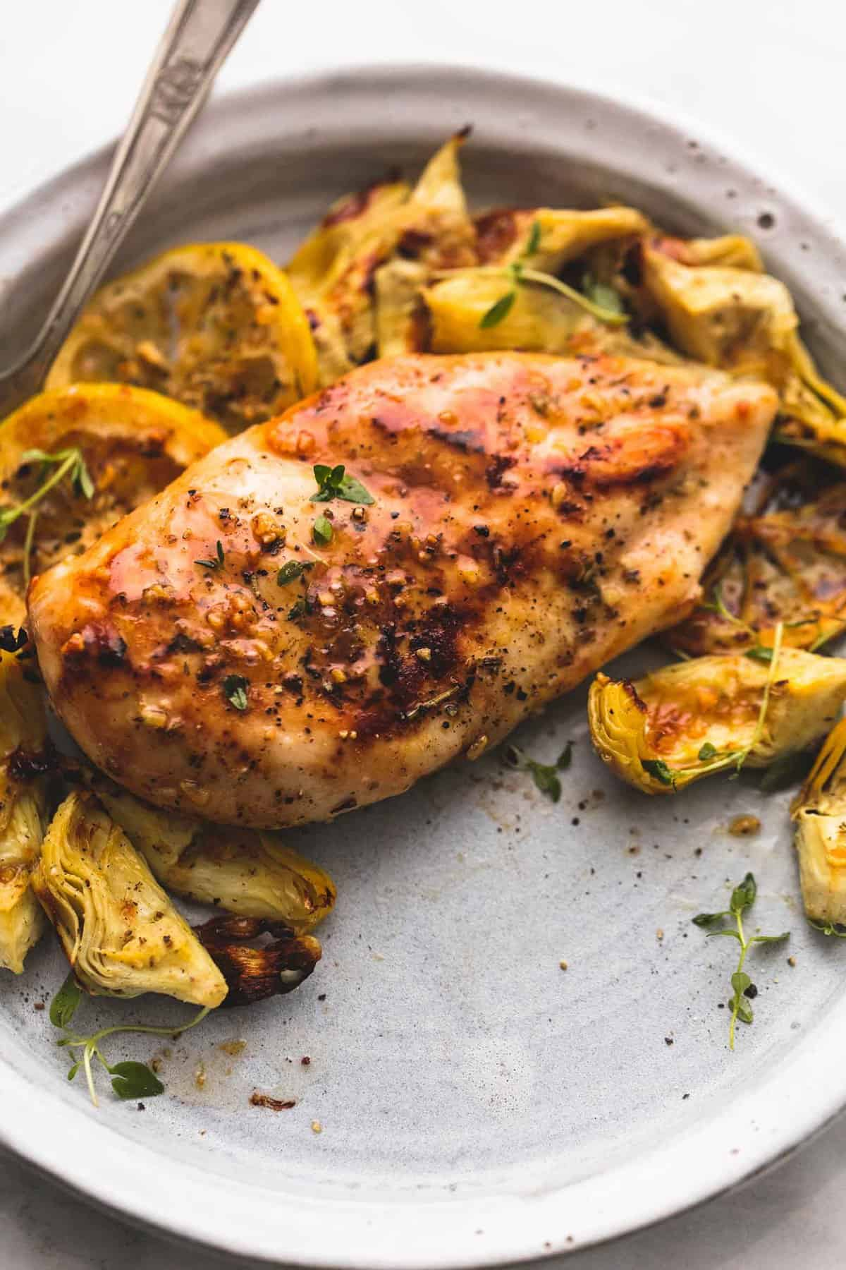 One Pan Baked Lemon Chicken and Artichokes | lecremedelacrumb.com