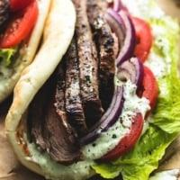 Steak Gyros with Tzatziki Cucumber Sauce   lecremedelacrumb.com