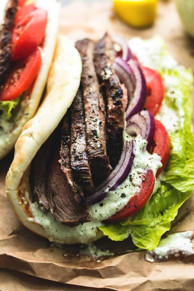 Steak Gyros with Tzatziki Cucumber Sauce