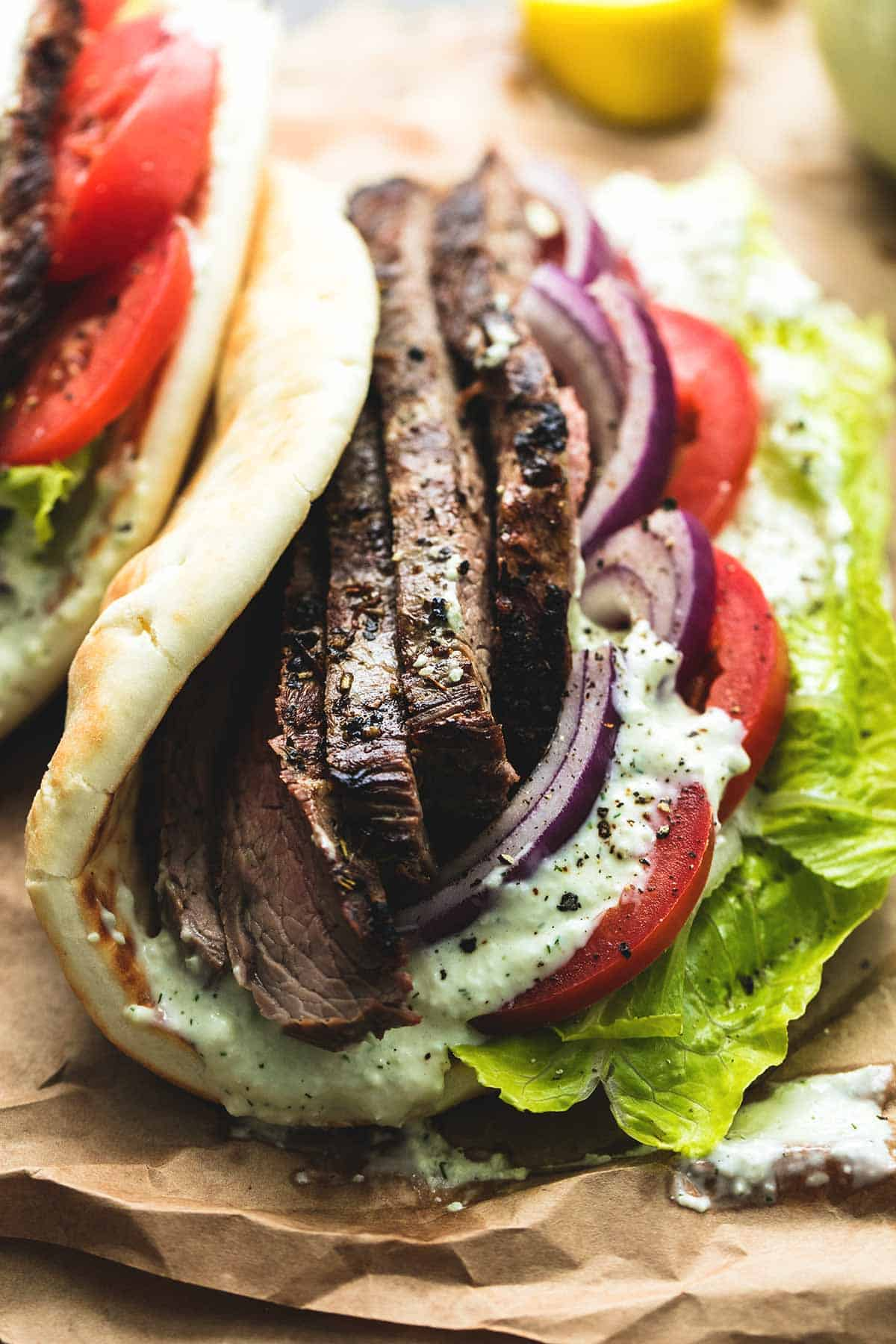 Steak Gyros With Tzatziki Cucumber Sauce Creme De La Crumb
