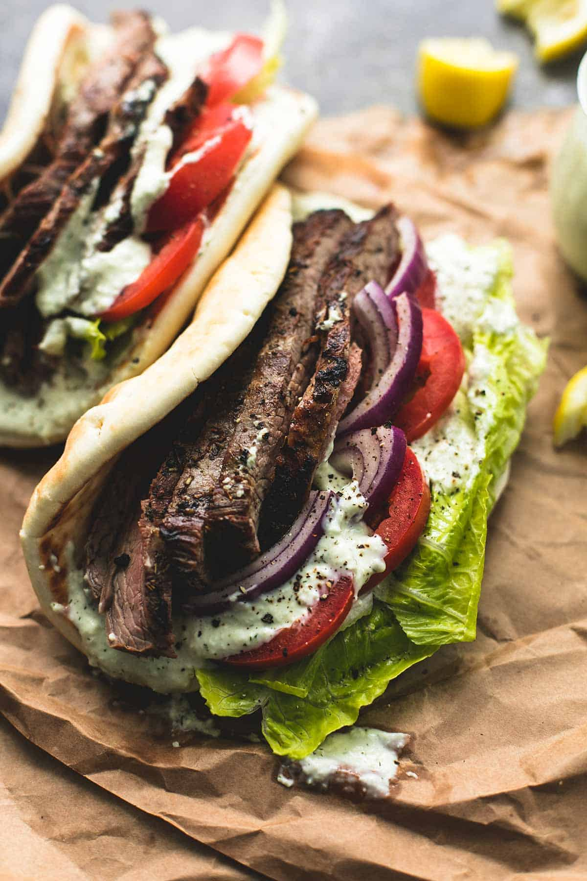 Steak Gyros with Tzatziki Cucumber Sauce | lecremedelacrumb.com