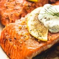 Baked Salmon with Creamy Lemon Dill Sauce | lecremedelacrumb.com