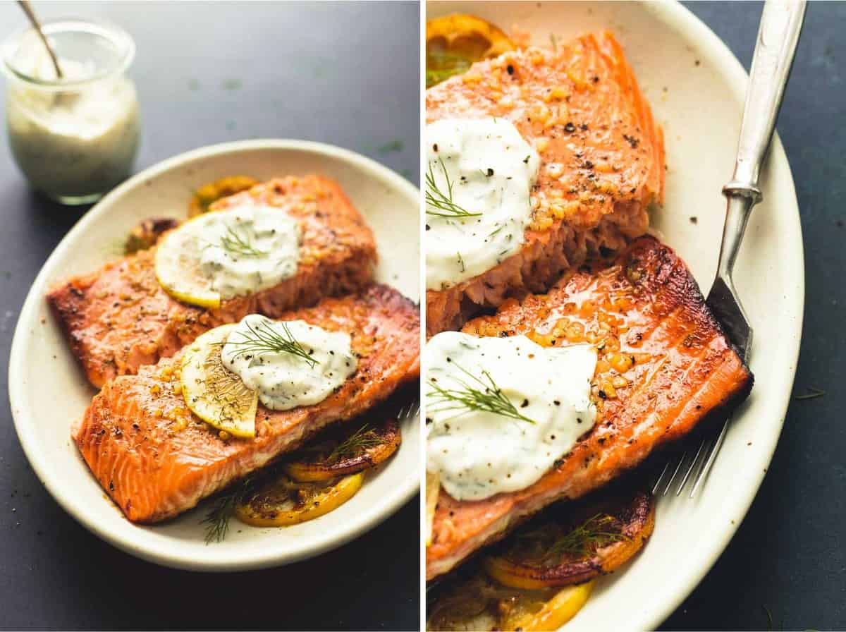 Baked salmon with creamy lemon dill sauce creme de la crumb baked salmon with creamy lemon dill sauce lecremedelacrumb sisterspd