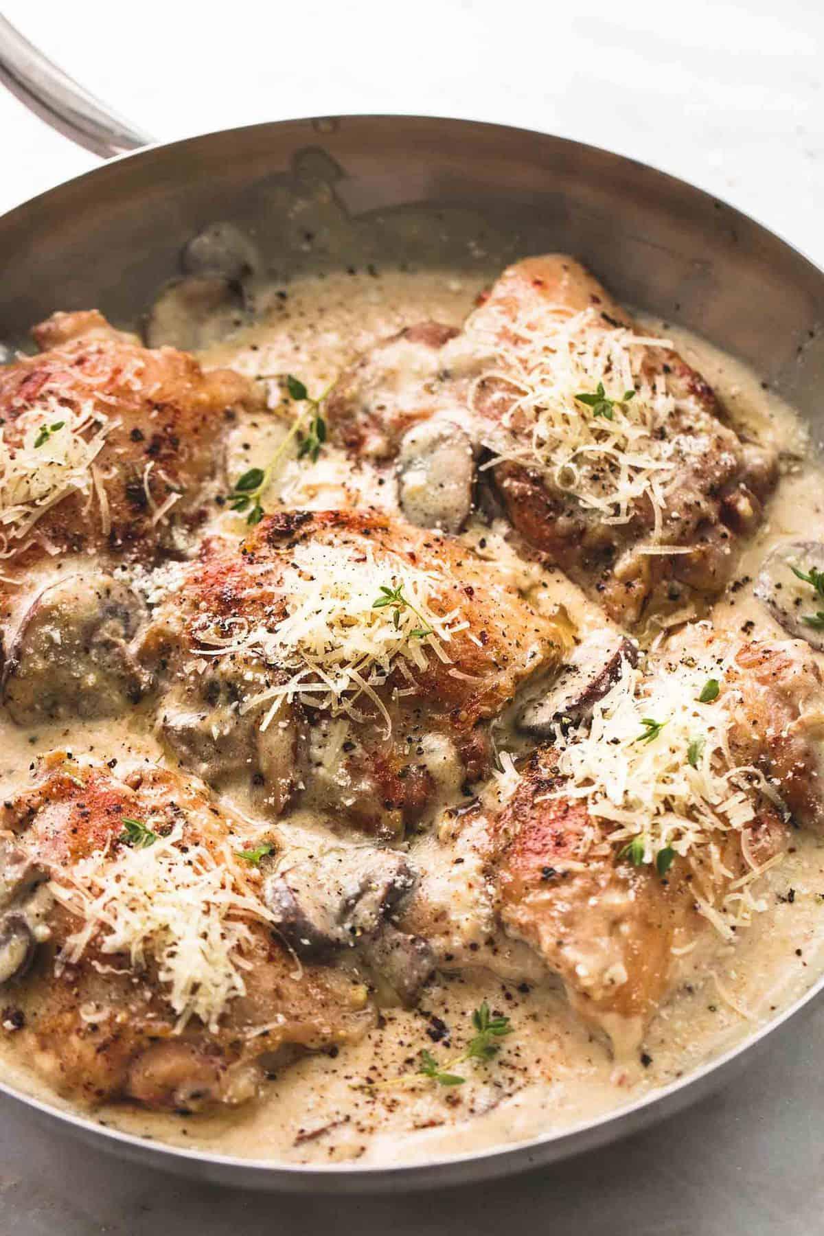 Creamy Parmesan Chicken and Mushrooms | lecremedelacrumb.com