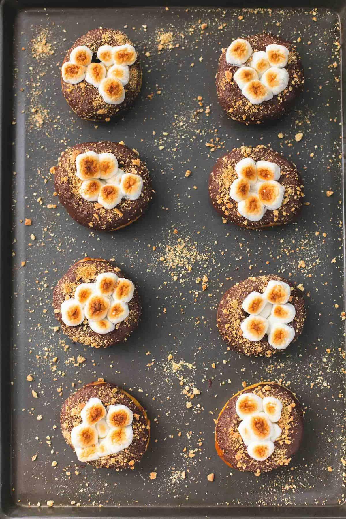 Easy S'mores Donuts   lecremedelacrumb.com