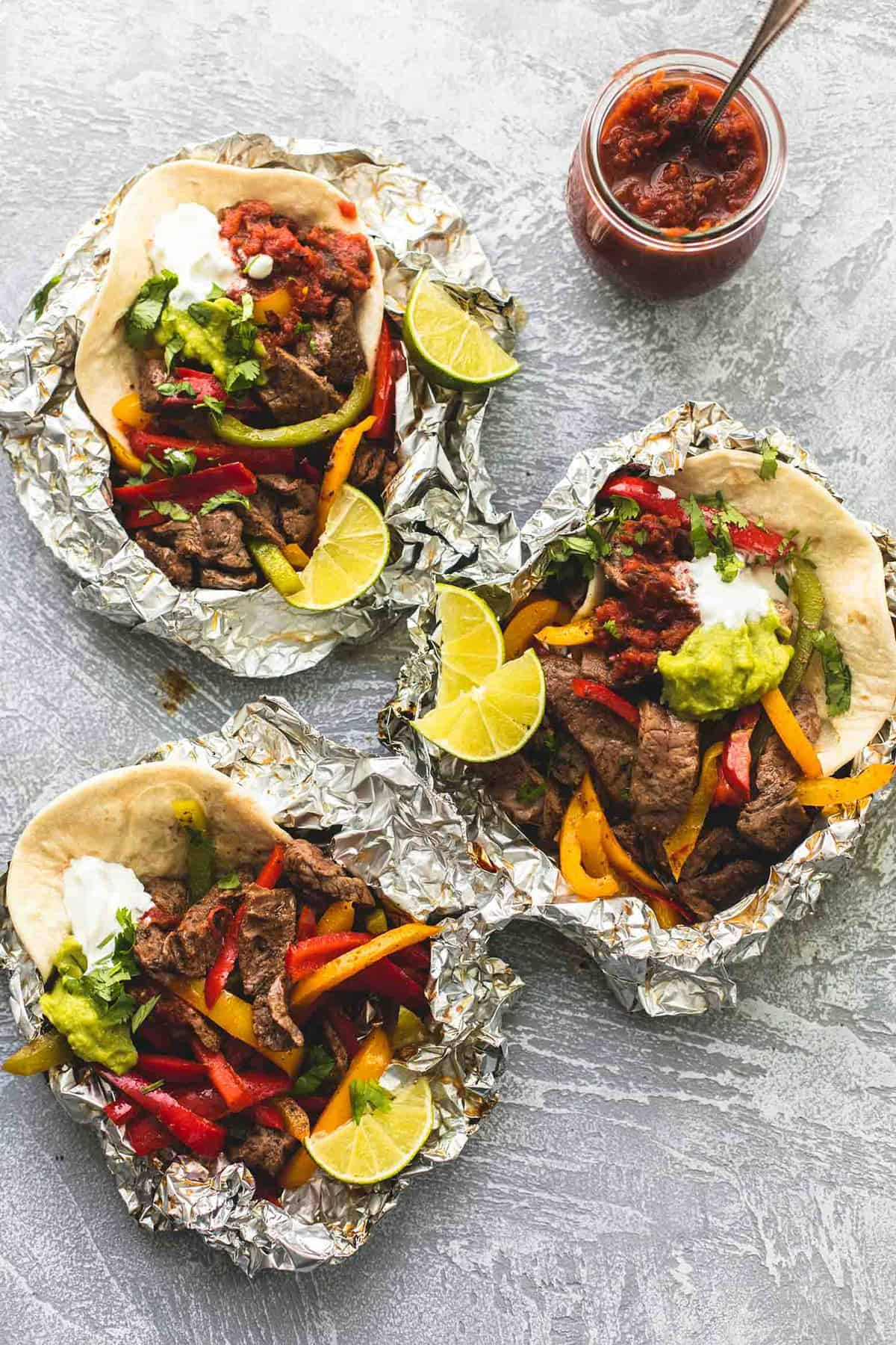 Steak Fajita Foil Packs | lecremedelacrumb.com