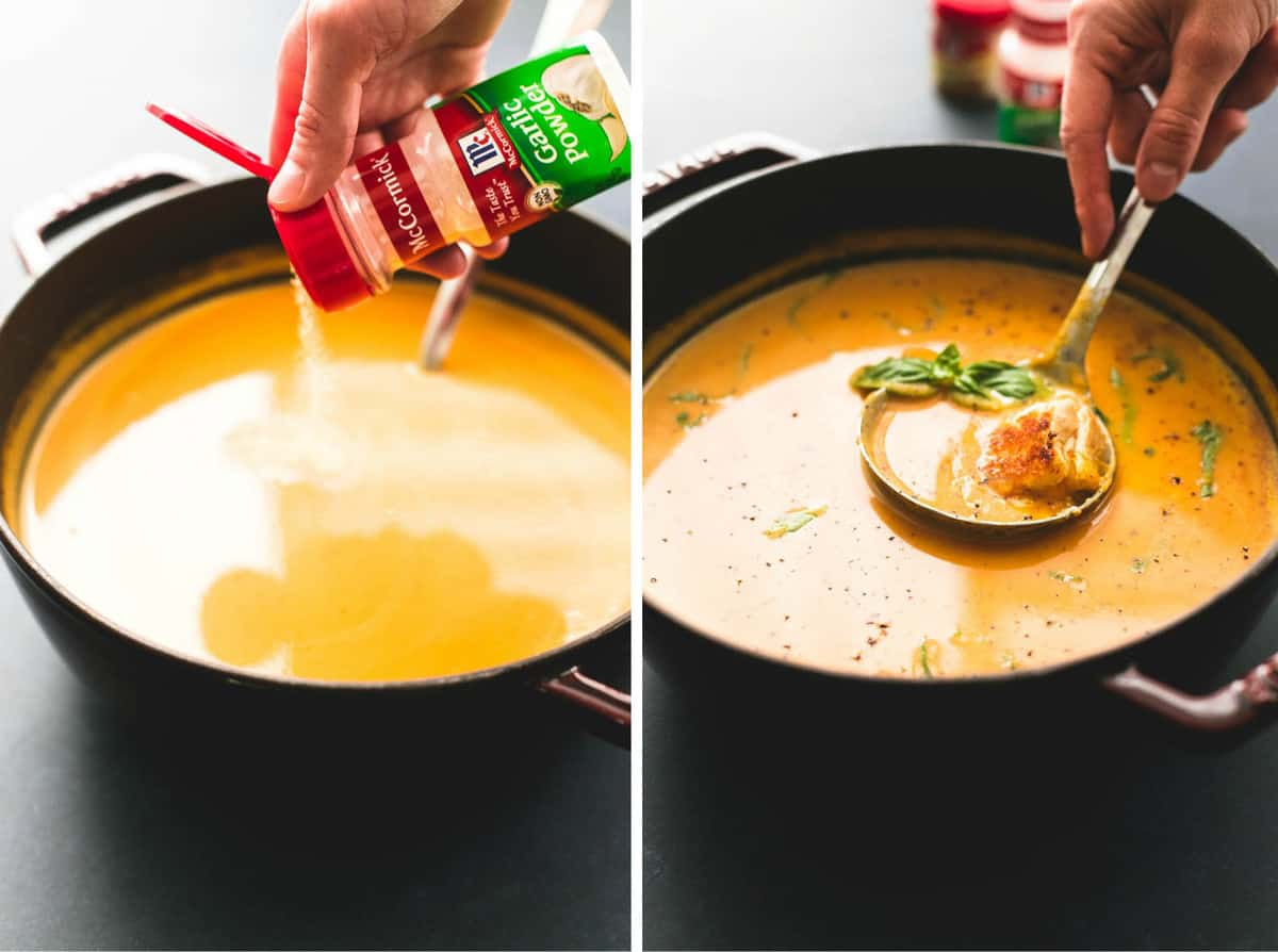 side by side images of creamy pumpkin soup with grilled cheese croutons with seasoning being poured into it and a hand scooping some with a serving spoon.