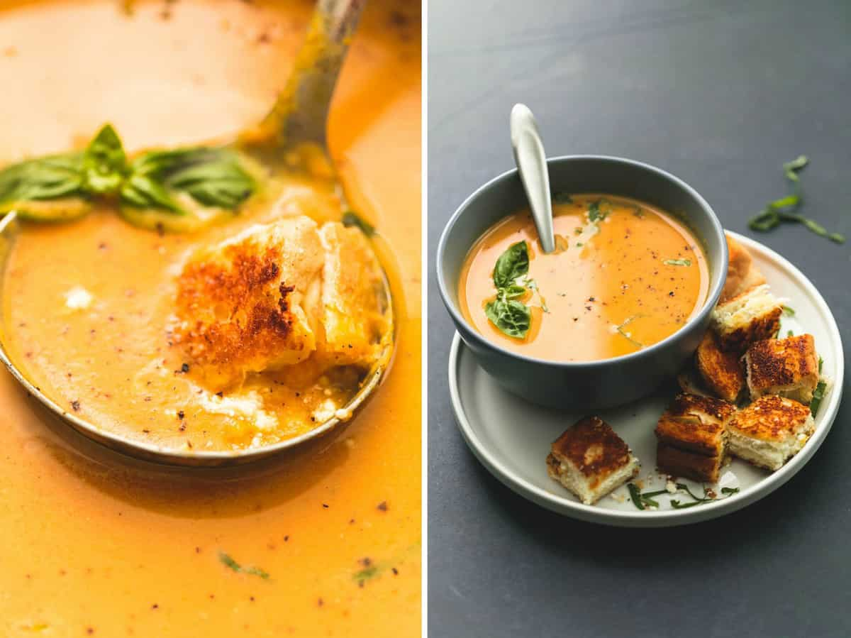 side by side images of creamy pumpkin soup with grilled cheese croutons on a serving spoon and in a bowl with croutons on the side all on a plate.
