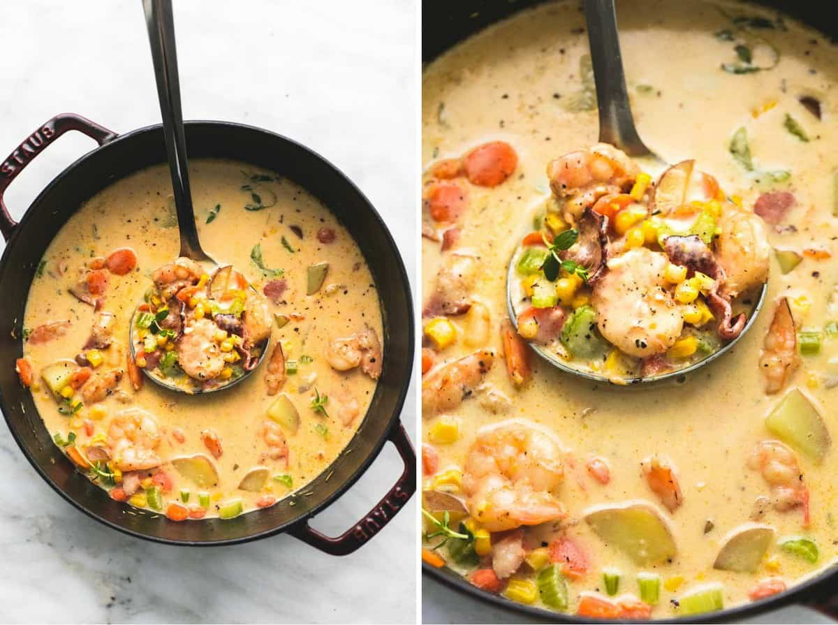 Shrimp and Bacon Corn Chowder   lecremedelacrumb.com