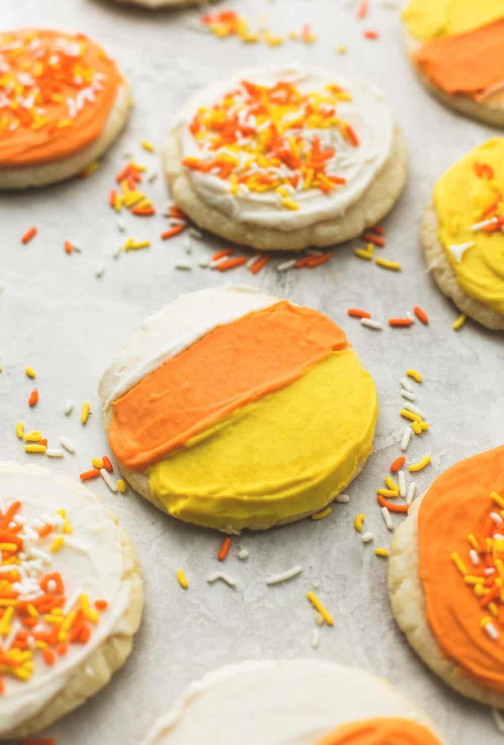 Ultra Soft Candy Corn Sugar Cookies | lecremedelacrumb.com