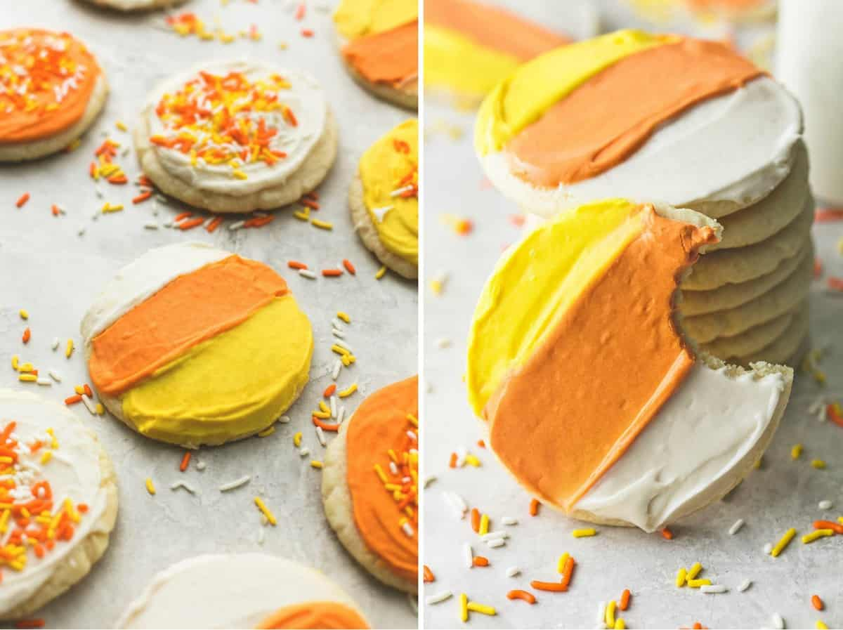 Ultra Soft Candy Corn Sugar Cookies | lecremedelacrumb.com